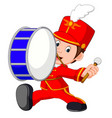 marching band banging a big bass drum vector image vector image