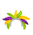 mardi gras feather headband headdress with pearls vector image