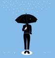 men hold umbrellas in rainy season vector image
