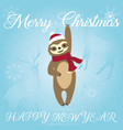 merry christmas sloth blue style vector image vector image