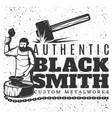 monochrome vintage blacksmith template vector image vector image