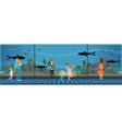 people visiting an oceanarium kids watching sea vector image vector image