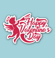 pink happy valentines day pink cupid blue blackgro vector image
