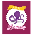 purple octopus balloon happy birthday card vector image vector image