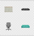 realistic cupboard divan sofa and other vector image vector image