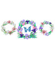 romantic floral collection of wreaths with vector image vector image