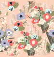seamless pattern spring bouquets flowers vector image
