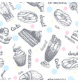 seamless pattern with desserts hand drawn pancakes vector image vector image