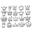 set crowns drawn with a marker collection of vector image vector image
