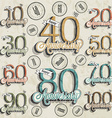 Set of vintage numbers vector image vector image