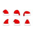 set santa claus hats realistic red santa claus vector image vector image