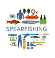 spearfishing scuba diving underwater set flat vector image