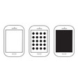 three mobile phones set vector image vector image