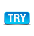 try blue 3d realistic square isolated button vector image