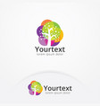 watercolor tree logo design vector image