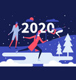 winter holidays fun flat design style vector image vector image