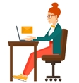 Woman receiving email vector image vector image