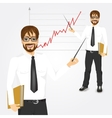 young hipster businessman presenting vector image vector image