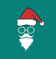 Santa hats and beards and eyeglasses vector image