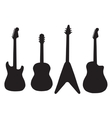 set of acoustic guitars and electric guitars vector image