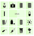 14 drug icons vector image vector image