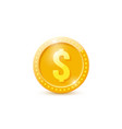 3d realistic gold dollar coin vector image