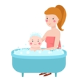 Baby in bath vector image