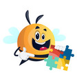 bee holding a puzzle on white background vector image