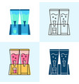 beverage dispenser icon set in flat and line style vector image