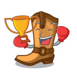 boxing winner leather cowboy boots shape cartoon vector image vector image