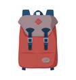 brown backpack front view travel bag for vector image vector image