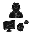 business conference and negotiations black icons vector image vector image