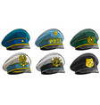 cartoon different peaked caps with cockade vector image