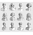 Characters design Hand drawn icons Faces sketch vector image vector image
