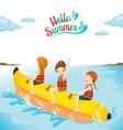 Children Having Fun On Banana Boat vector image vector image