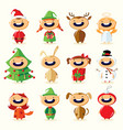 christmas set cute cartoon children in colorful vector image