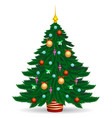 christmas tree with bright lights vector image vector image