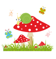 Colorful background with butterfly and amanita vector image vector image