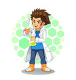 cool scientist mascot character vector image vector image