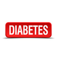 Diabetes red 3d square button isolated on white vector image