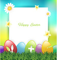 Easter greeting card with colorful eggs on grass vector image
