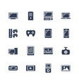 Electronics and gadgets icon set monitor case