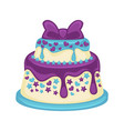 festive two-tier cake with beautiful purple bow on vector image vector image