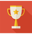 Flat Award Gold Trophy Cup with long Shadow vector image vector image