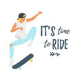 flat style skater silhouette vector image vector image