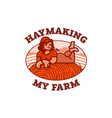 girl farmer resting in the field on a haystack vector image vector image