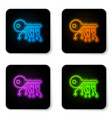 glowing neon cryptocurrency key icon isolated on vector image vector image