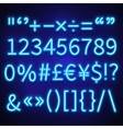 Glowing neon numbers text symbols and currency vector image vector image