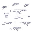 guns hand drawn set childish doodle style vector image
