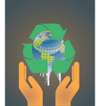 Hand holding earth globe 2 vector image
